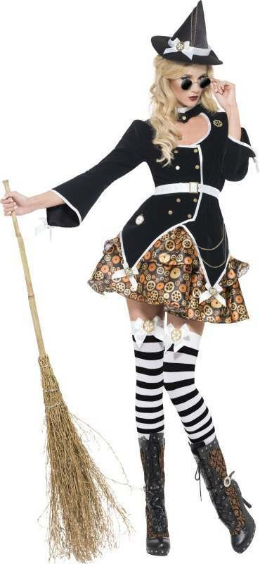Ladies Fever Steam Punk Witch Halloween Outfit (Black)
