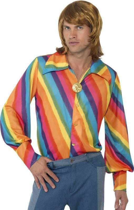 Mens 1970S Rainbow Colour Shirt 1970'S Outfit
