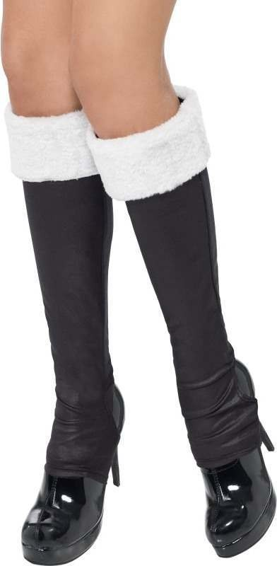 Ladies Bootcovers With White Fur Trim Christmas Shoes - (Black)