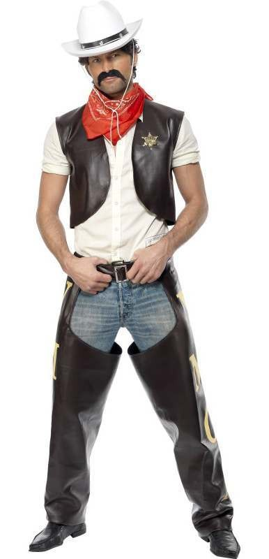 Men'S Official Village People Cowboy Fancy Dress Costume