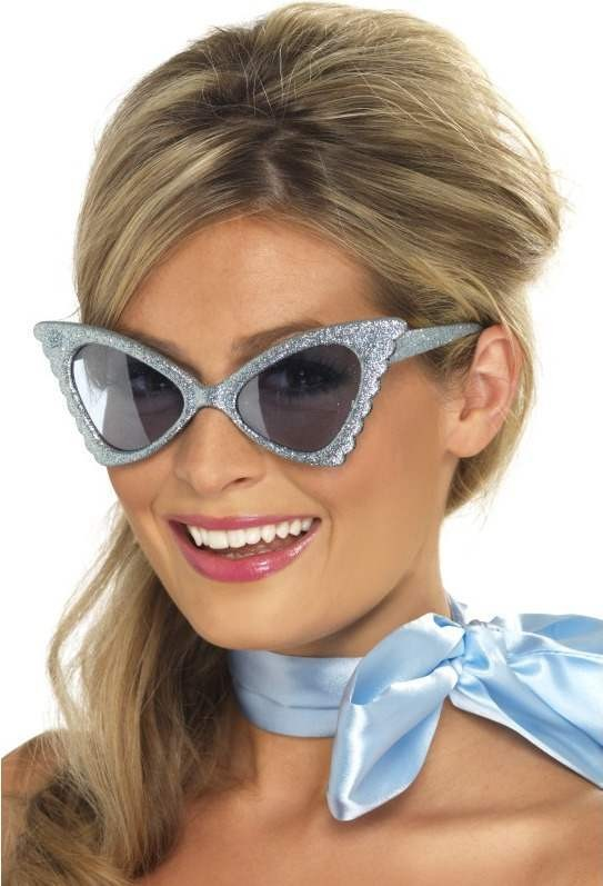 Ladies Retro Butterfly Specs Glasses - (Blue)
