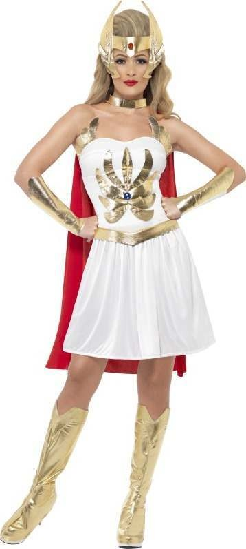 Ladies She-Ra Costume Cartoon Outfit (White)