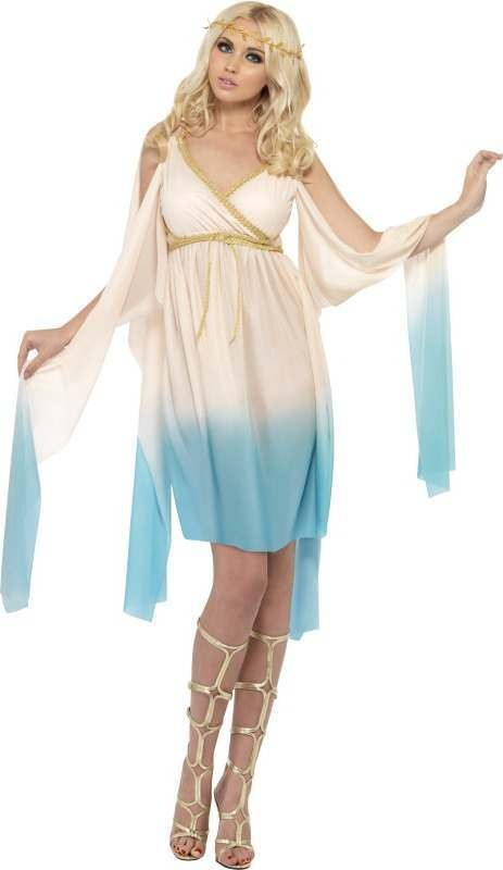 Ladies Fever Greek Princess Costume Greek Outfit (Blue)