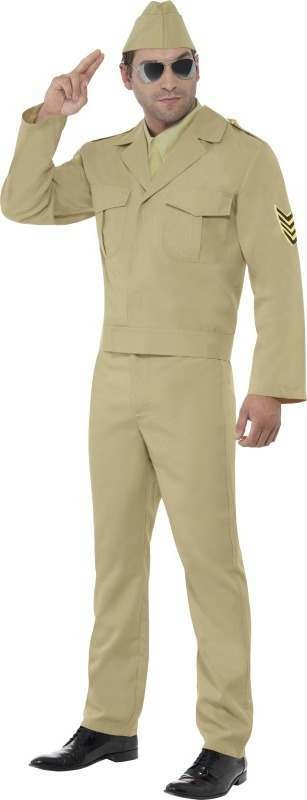 Mens American Gi Costume Army Outfit (Beige)