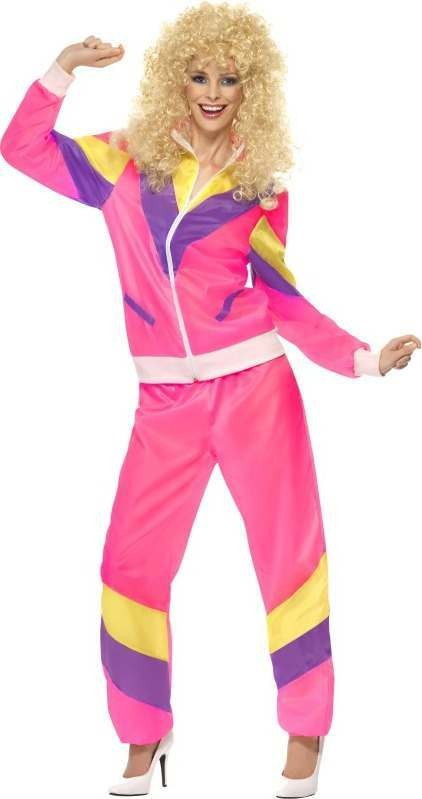 Ladies 80'S Height Of Fashion Shell Suit Costume 1980'S (Pink)