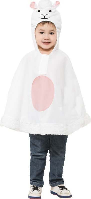 Child Unisex Lamb Poncho Christmas Outfit - (White)