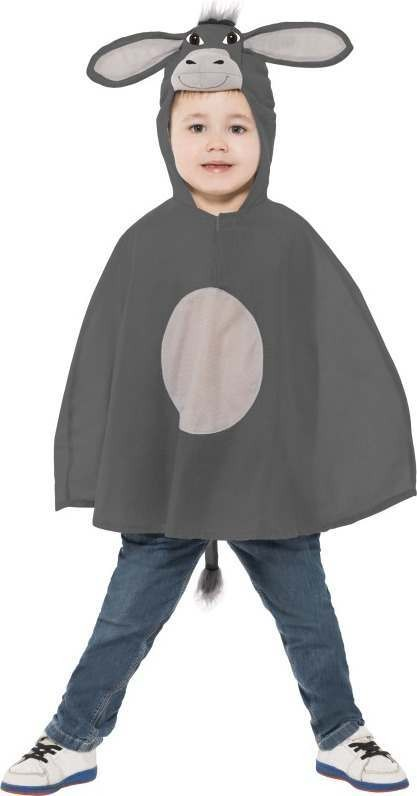 Child Unisex Donkey Poncho Christmas Outfit - (Grey)