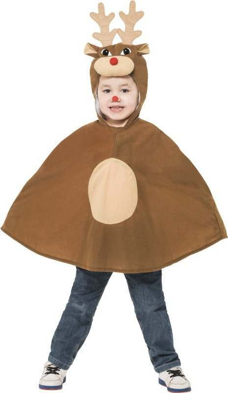 Child Unisex Reindeer Poncho Christmas Outfit - (Brown)