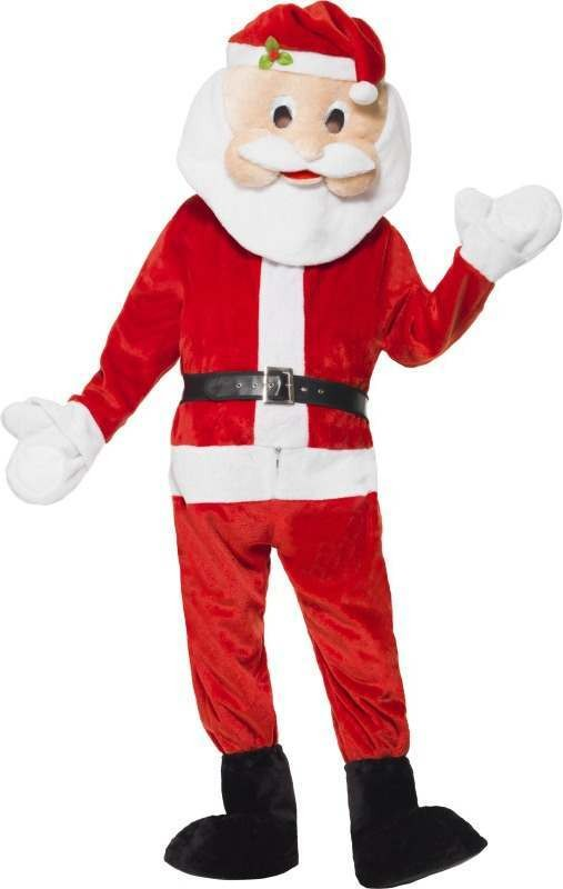 Mens Santa Mascot Costume Christmas Outfit - One Size
