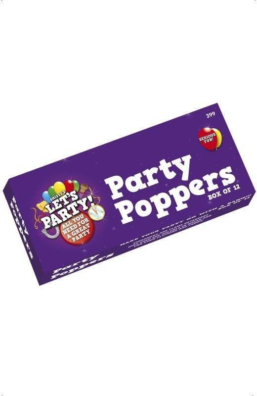 Party Poppers Box Of 12 Fancy Dress
