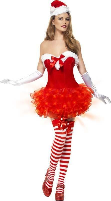 Ladies Light Up Sexy Santa Costume Christmas Outfit