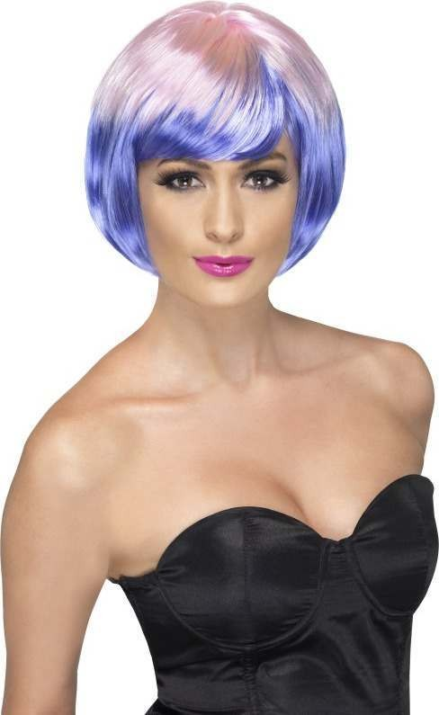 Ladies Funky Babe Wig Wigs - (Pink Purple