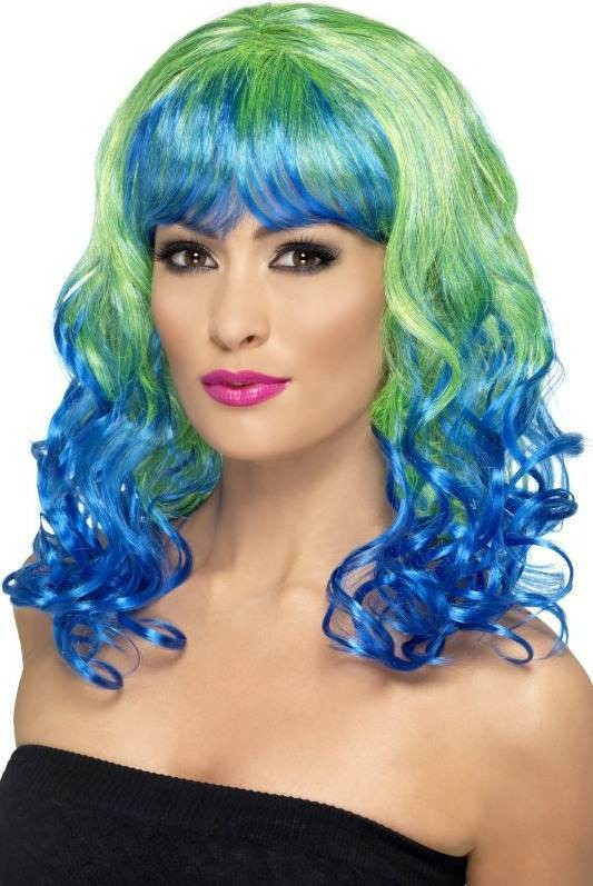 Divatastic Wig, Curly Wigs - (Green Blue)