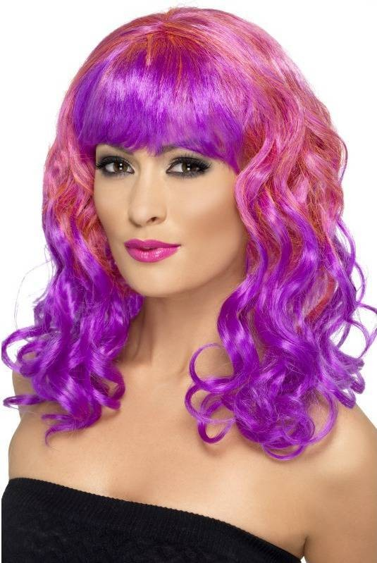 Divatastic Wig, Curly Wigs - (Pink Purple)