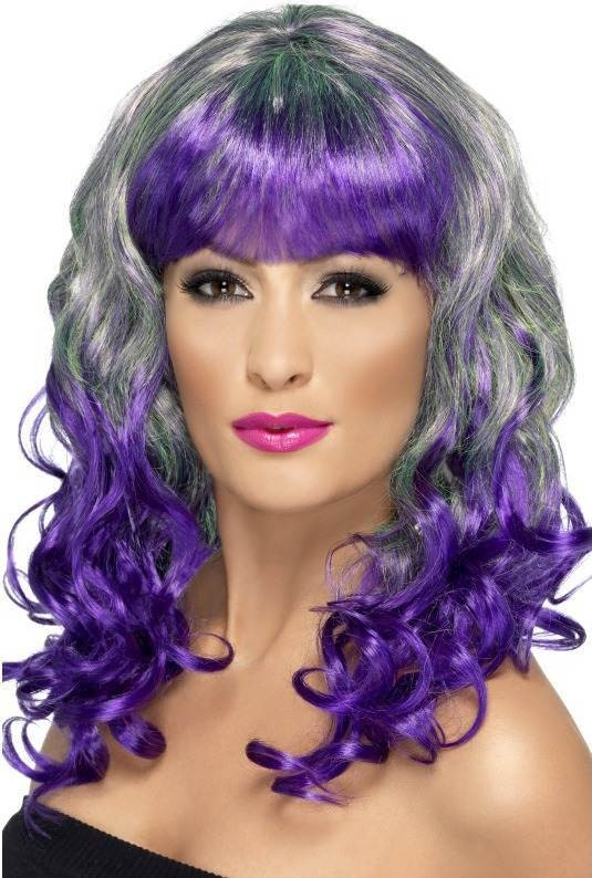 Divatastic Wig, Curly Wigs - (Grey Purple)
