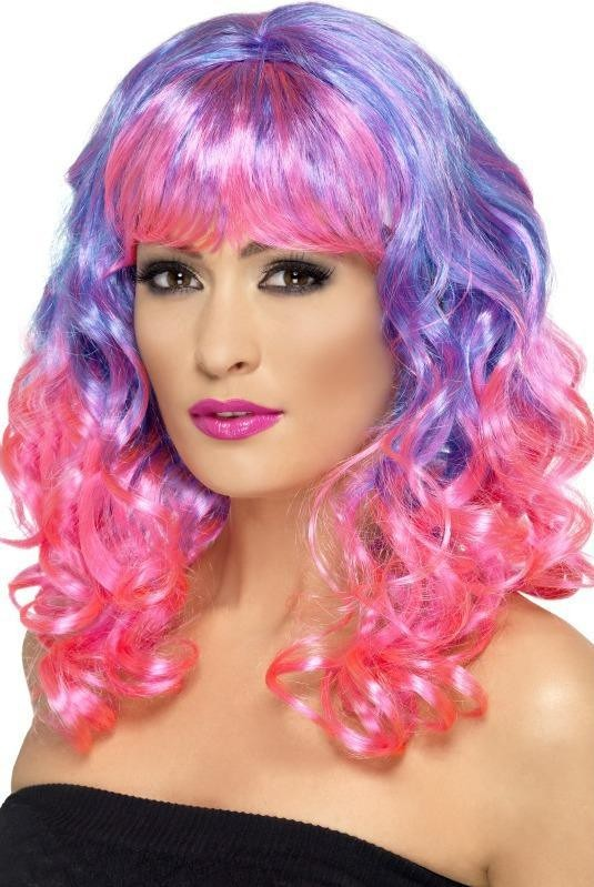 Divatastic Wig, Curly Wigs - (Blue Pink)
