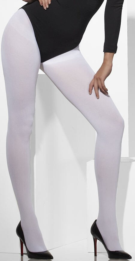 Ladies White Opaque Tights Fancy Dress Accessory
