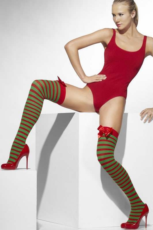 Ladies Red And Green Opaque Hold-Ups
