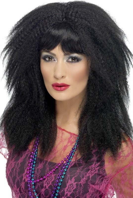 Ladies 80'S Trademark Crimp Wig Wigs - (Black)