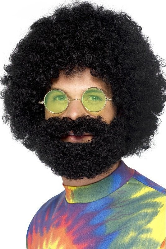 Mens Groovy Dude Afro Wig And Beard Wigs - (Black)