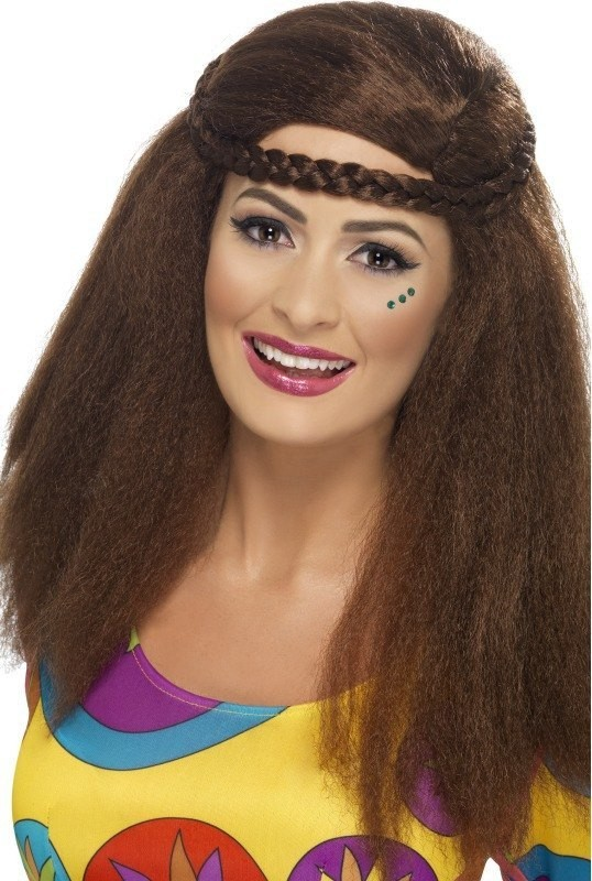 Ladies Hippy Chick Long Afro Wigs - (Brown)
