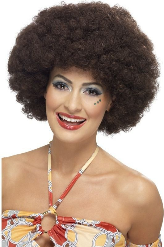 Ladies 70'S Curly Afro Wig Wigs - (Brown)