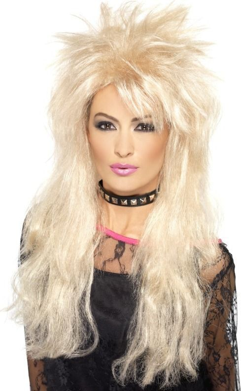 Ladies 80'S Long Mullet Wig Wigs - (Blonde)