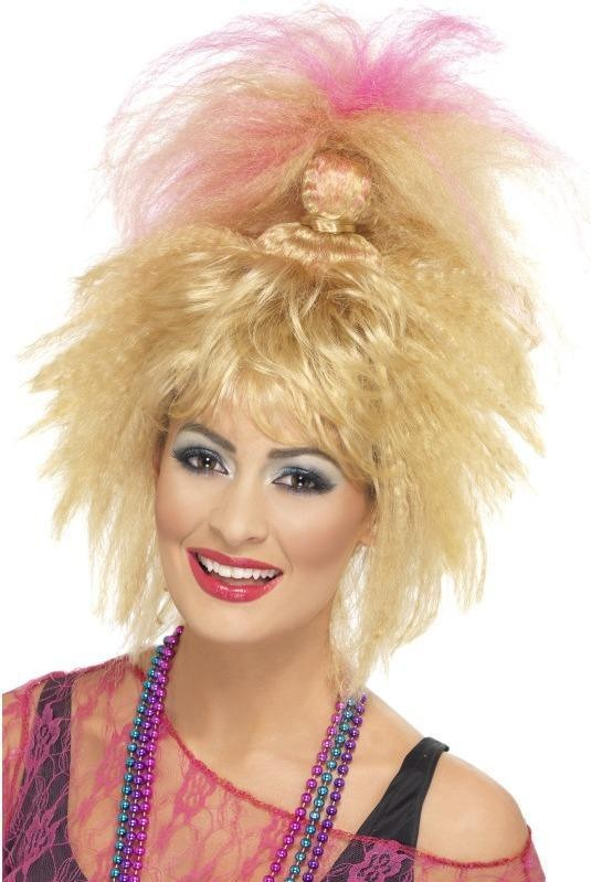 Ladies 80'S Trademark Crimped High Ponytail Wigs - (Blonde)