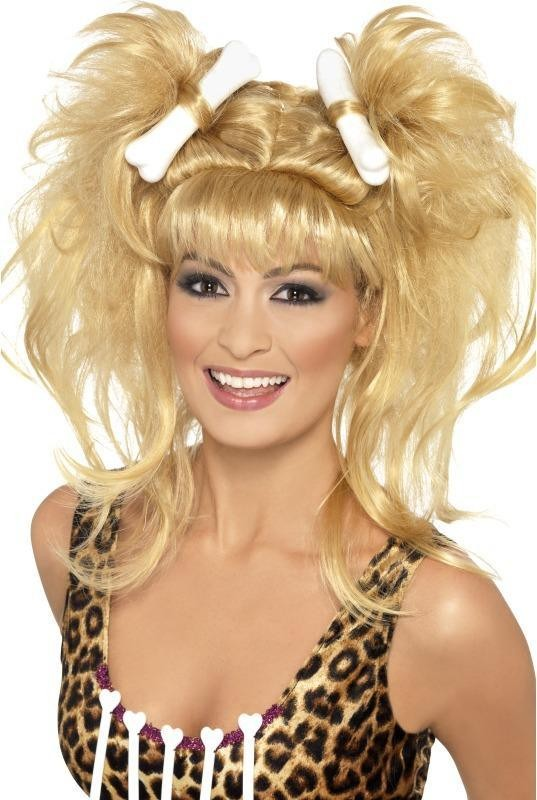 Ladies Crazy Cavegirl Bunches Wig Wigs - (Blonde)