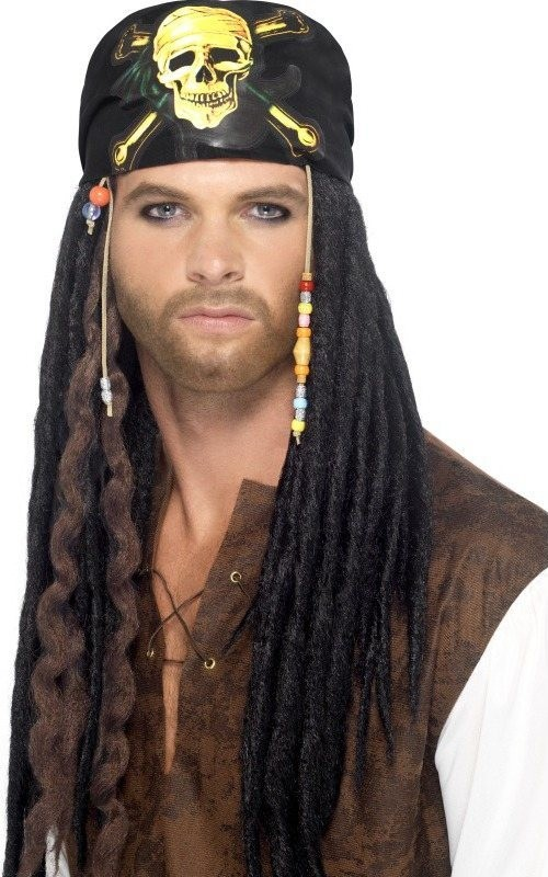 Mens Pirate Dreadlocks Wig Wigs - (Black)