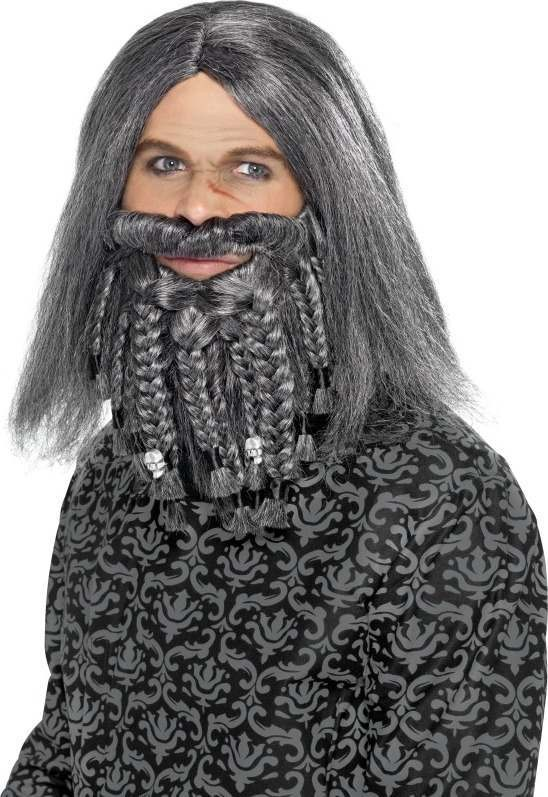Mens Terror Of The Sea Pirate Wig And Beard Set Wigs - (Grey)