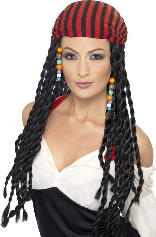 Ladies Pirate Wig Wigs - (Black)