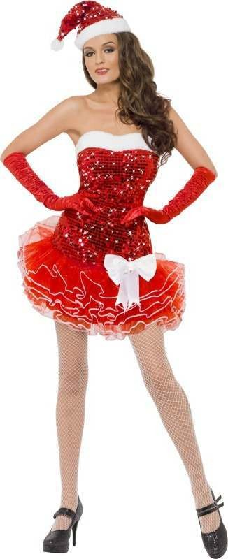 Ladies Fever Santa Sequin Costume Christmas Outfit (Red)