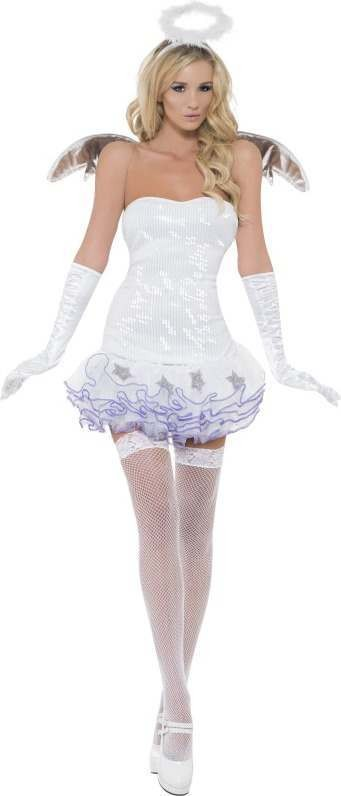 Ladies Fever Angel Sequin Costume Angel Outfit (White)