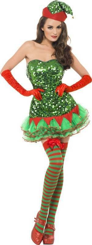 Ladies Fever Elf Sequin Costume Christmas Outfit (Green)
