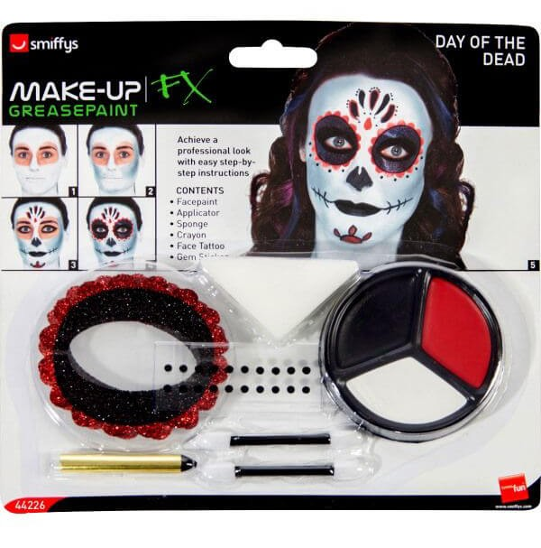 Day of the Dead Make-Up Kit, with Face Paints Halloween Accessory
