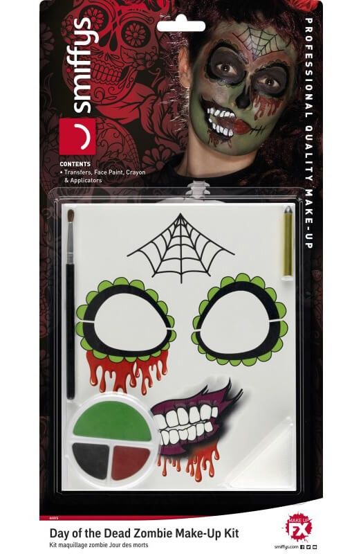 Day of the Dead Zombie Make-Up Kit Halloween Fancy Dress Accessory