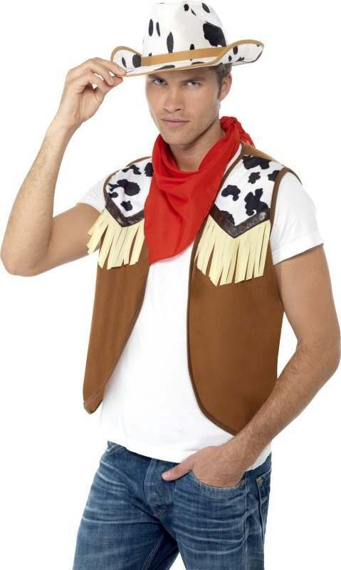 Mens Instant Kit Wild West Male Cowboys/Native Americans Outfit - One Size (Red)