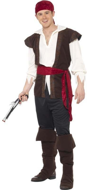 Mens Buccaneer Pirate Male Costume Pirates Outfit - One Size