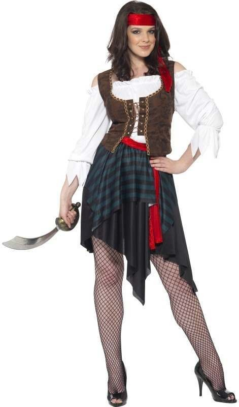 Ladies Pirate Lady Costume, Long Pirates Outfit - One Size