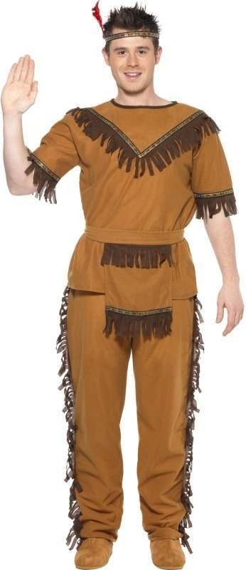 Mens Indian Chief Costume Cowboys/Indians Outfit - One Size (Brown)