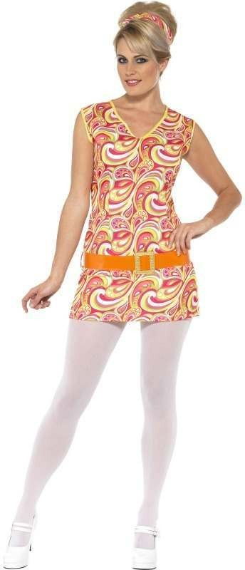 Ladies Hippy Lady Costume Hippy Outfit - 8-10