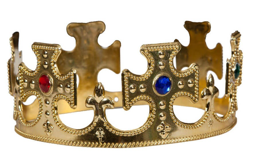 Adults Gold King/Queen Crown (Royalty/Medieval) Fancy Dress Accessory
