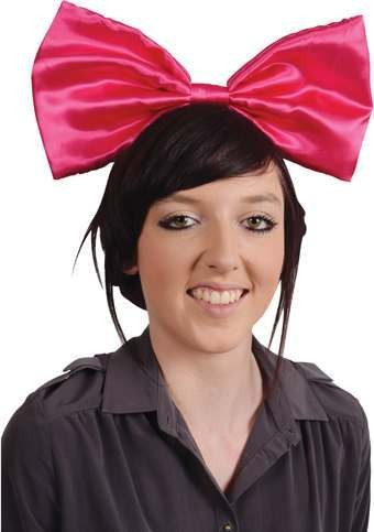 Ladies Pink Gaga Bow With Headband Accessories - (Pink)