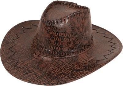 Mens Cowboy Hat - Dist Leather Look Brown Hats - (Brown)