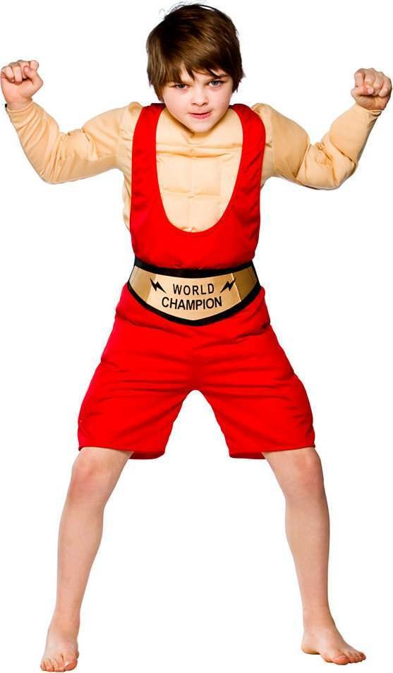 Boys World Champion Wrestler Sport Outfit - (Red)