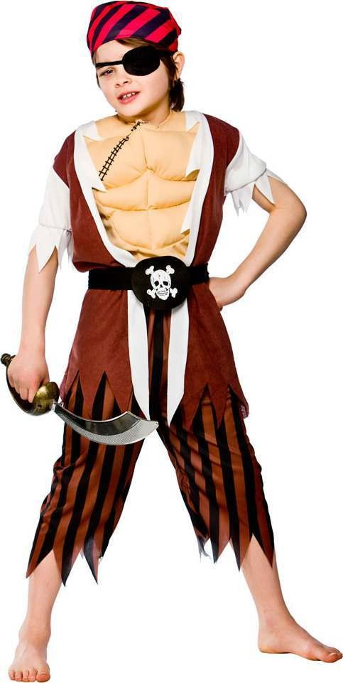 Boys Muscle Chest Pirate Pirates Outfit - (Brown)