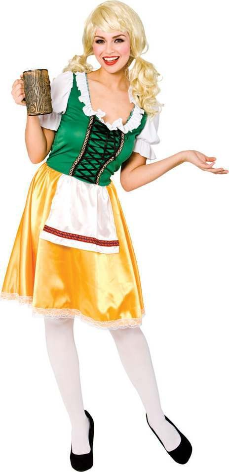 Ladies Bavarian Beer Girl Bavarian Outfit - (Green, Yellow)