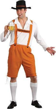 Mens Bavarian Beer Man Bavarian Outfit (Brown, White)