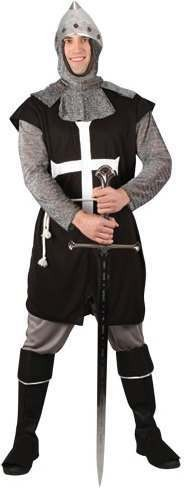 Mens Black Knight Medieval Outfit (Black)